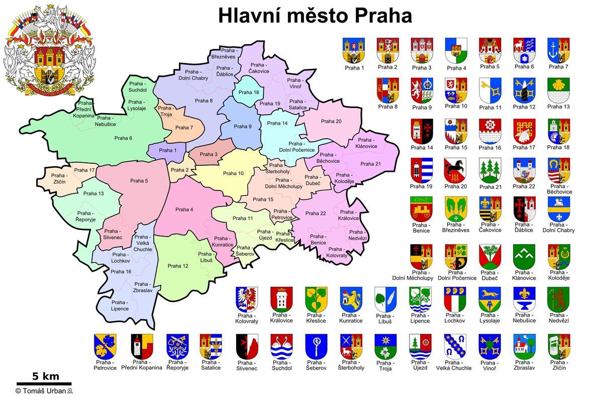 22 районных делений Праги