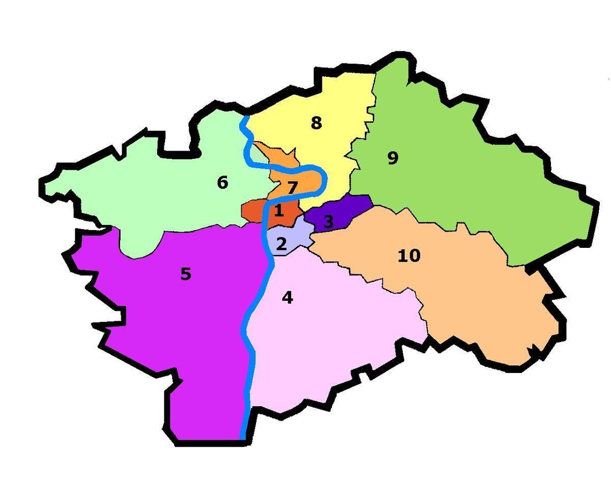 10 административных районов Праги