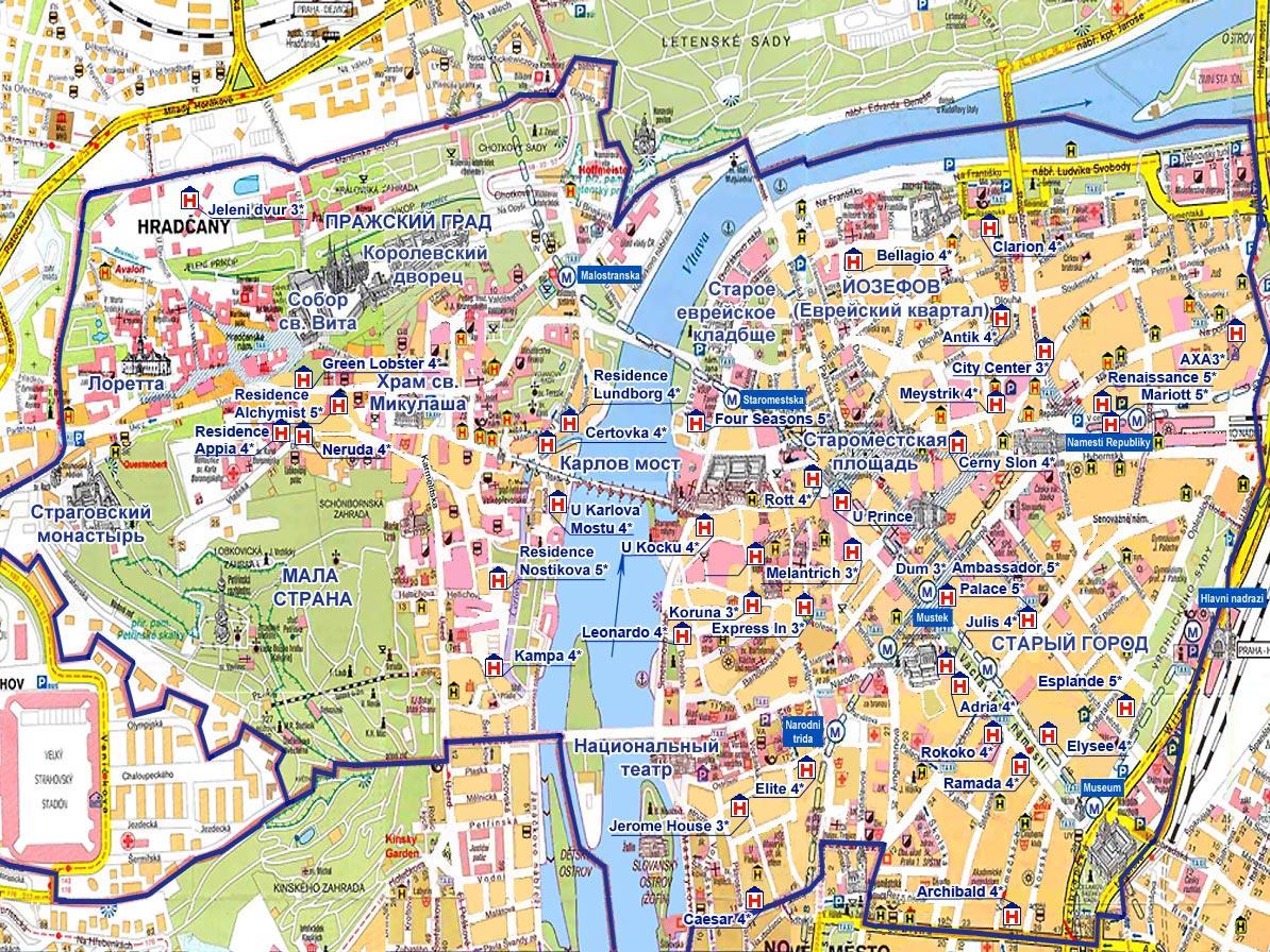 Карта Праги туристическая
