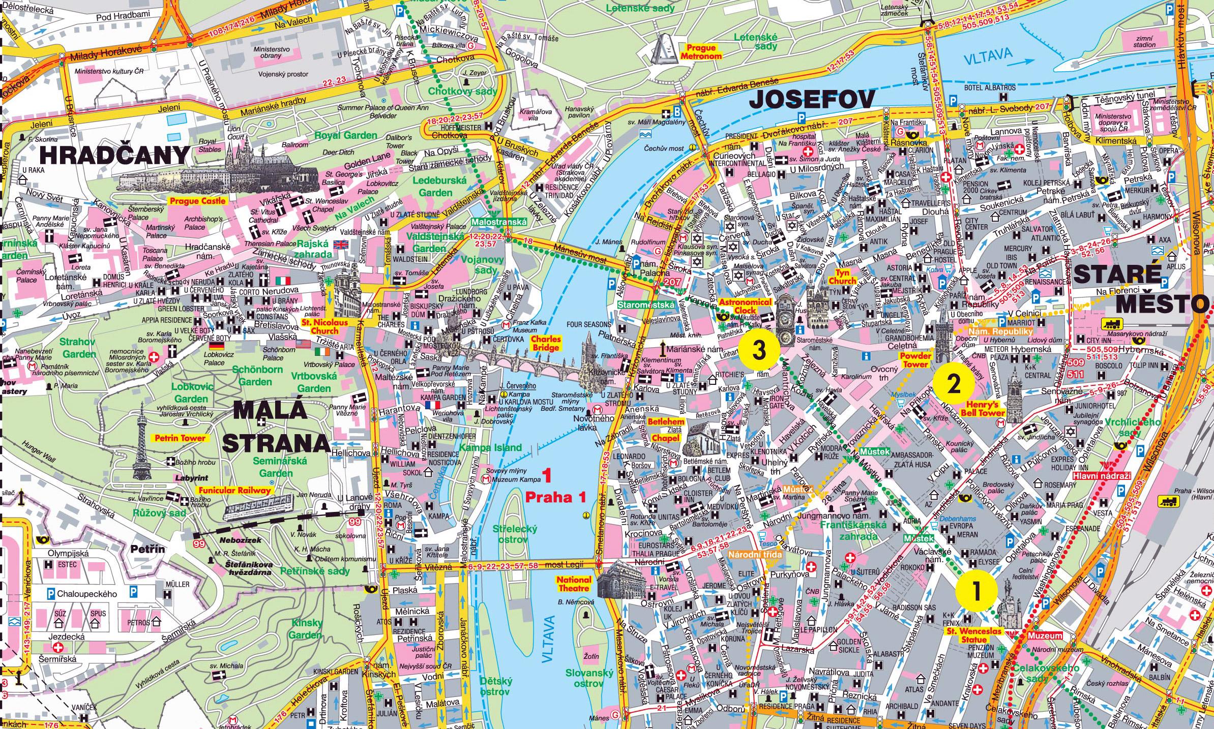 Сккчать карту Праги в формате PDF