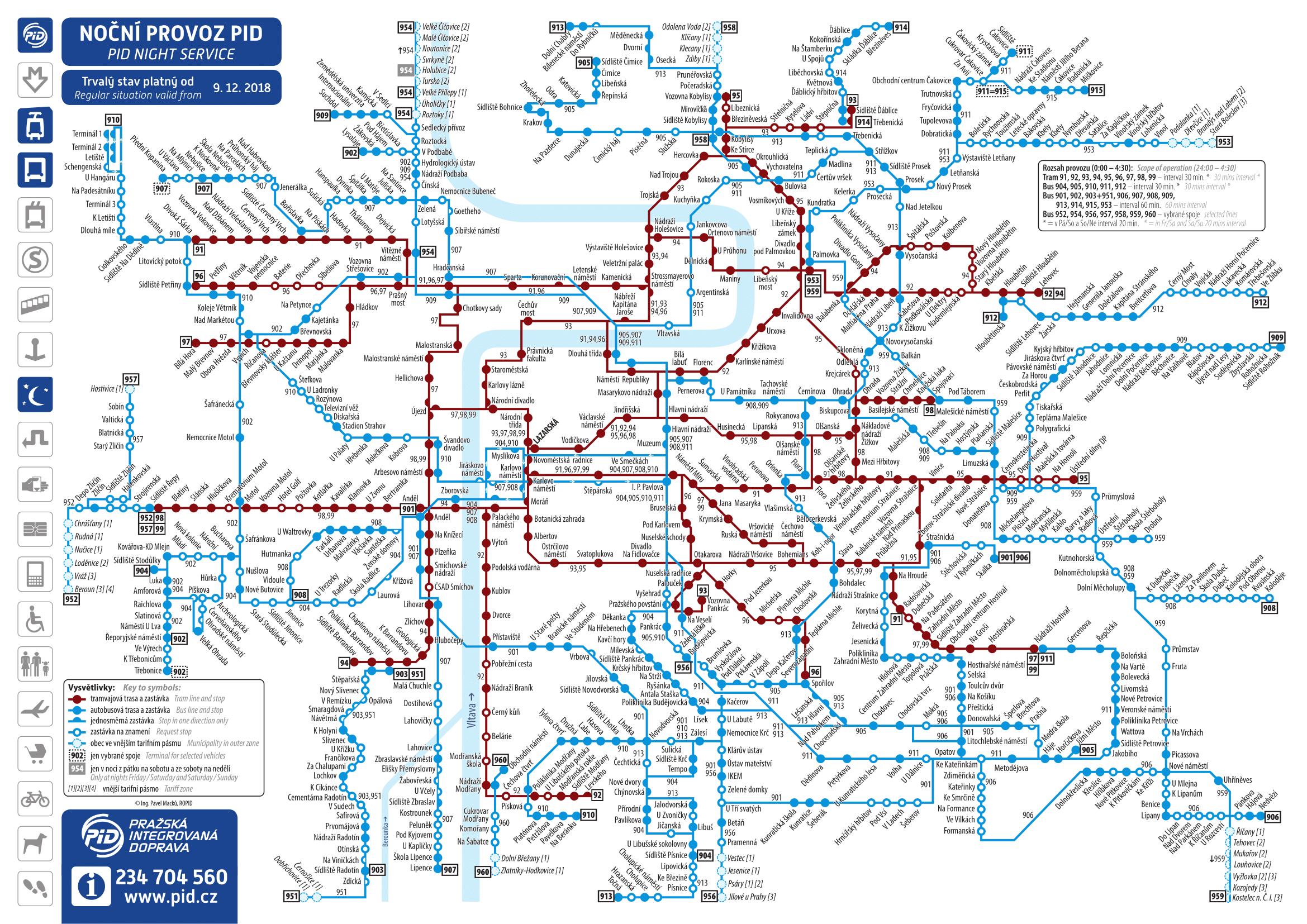 Схема ночных маршрутов