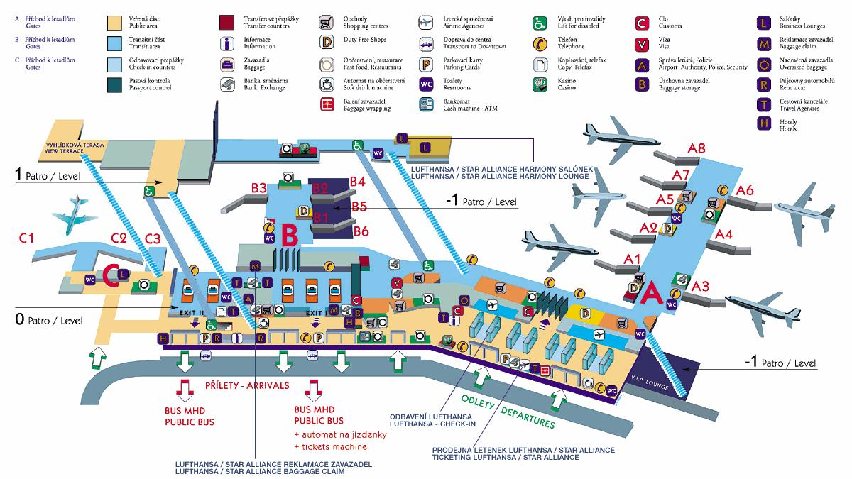 Схема аэропорта Праги (Вацлава Гавела)
