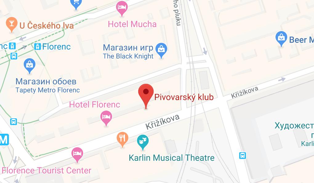 Бар «Пивоварский клуб» (Pivovarský klub) на карте