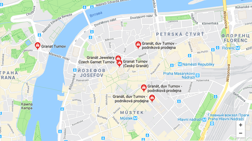 Карта магазинов Granat Turnov