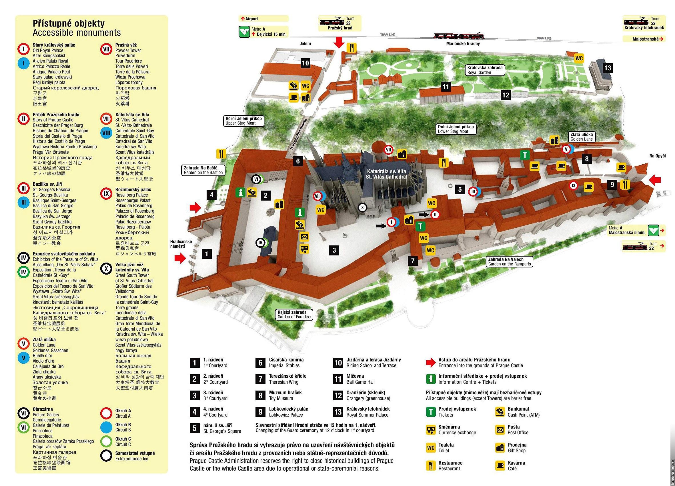 Карта достопримечательностей Пражского Града
